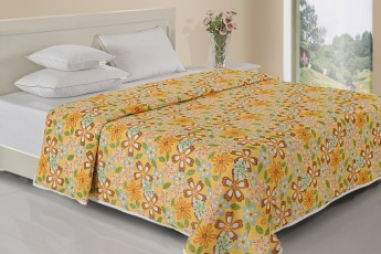 BROWN & YELLOW FLORAL PRINT DOHAR