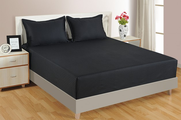 BLACK 300 TC BED SHEET