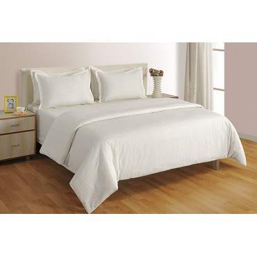 WHITE 200 TC STRIPE DUVET COVER
