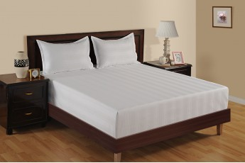 WHITE 300 TC MULTI STRIPE BED SHEET
